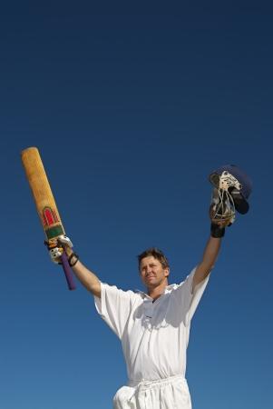 Cricketer celebrates 100  runs Standard-Bild