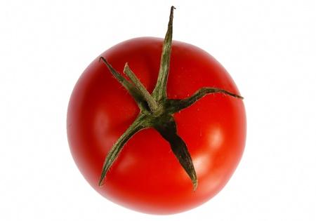 Juicy fresh organic tomato on a white background Standard-Bild