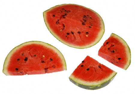 Freshly cut juciy red watermelon in pieces