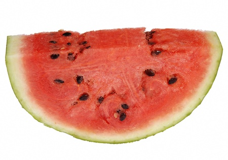 One slice of a fresh cut piece of watermelon