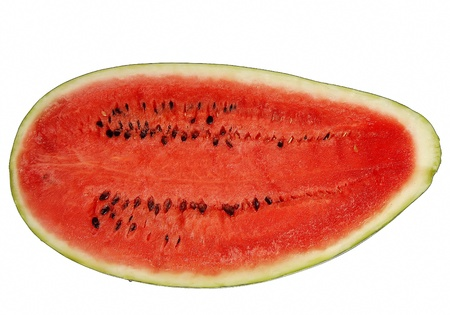 A large juicy fresh watermelon sut in half
