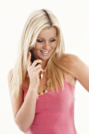 Blonde woman talking on her phone