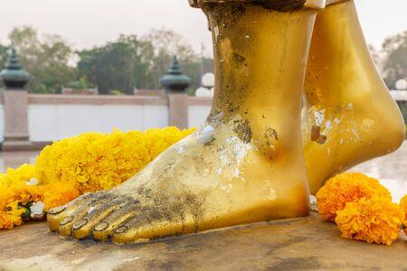 venerable: foot bhuddha yellow as gold
