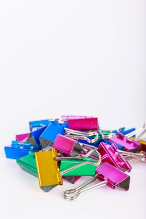 foldback: paperclip colors on a white backgroung obviously focus blur Stock Photo