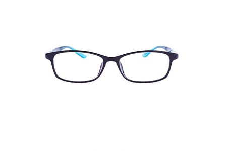 eye for an eye: eye glasses for people with normol eyesight after white photos Stock Photo
