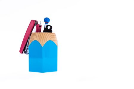 pencil box: blue pencil box for storing office supplies