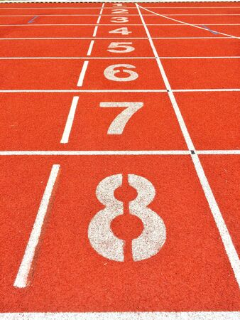 racetrack: start line and finish line athletics Jogging track