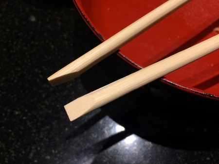 Japanese empty bowl with a pair of chopsticks