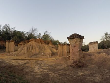 Grand Canyon Forest Park of Phae Mueang Phi ,Phrae in Thailand Natural sculpture landmark by erosion geology
