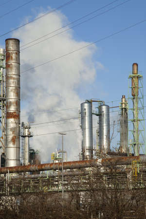 industrialized: Chimneys of large industrial plants pollute the environment