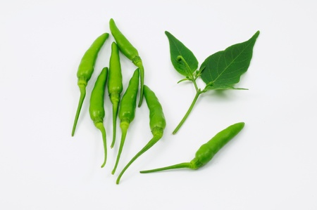 Green chili and leaf Stock Photo