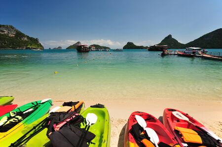 Kayaks on a beautiful beach