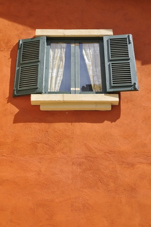 Retro window with glass and curtain