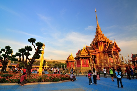 This temporary construction is for the ceremony of Princess Bejaratana Rajasuda Sirisobhabannavadi of Thailand on April 10, 2012  It is a scenery of Royal funeral architecture at Sanamluang Bangkok