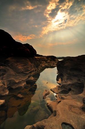 Sam-Pan-Bok Grand Canyon, Mekhong River, Ubon Ratchathani, Thailand Stock Photo