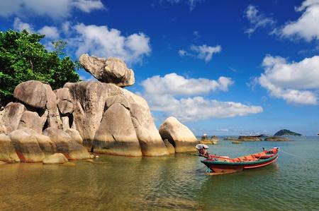 fishing boat on the beach at Koh Tao, Suratthani, Thailand photo