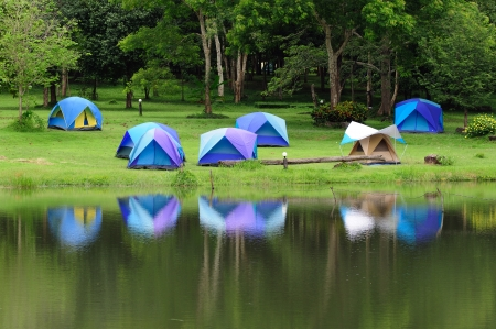 Camping site at Jedkot, Saraburi, Thailand  Stock Photo