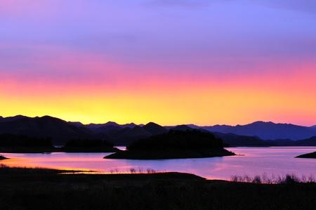 Twilight time at Kaeng-Krachan Dam, Thailand National Park photo