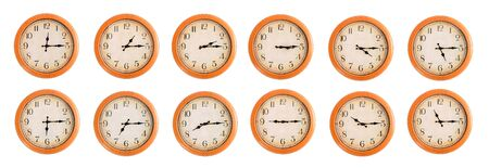 Isolated wall clocks set on white background  photo