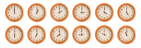 Isolated wall clocks set on white background #1/4 Stock Photo - 18425283