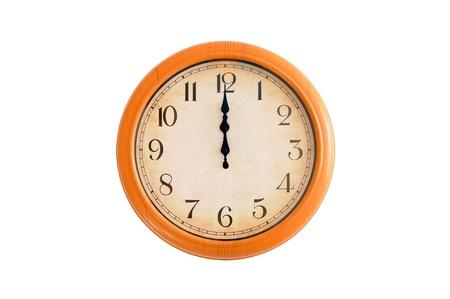 12 o clock: Clock showing 12 o clock on a white wall Stock Photo