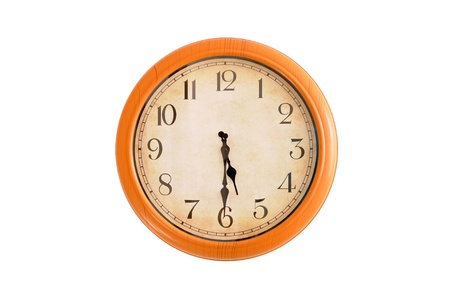 Clock showing 5 30 o clock on a white wall
