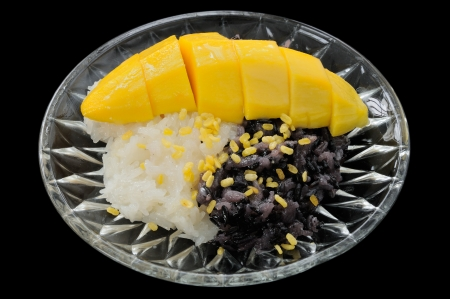 Sticky Black and White Rice Mango Thai Dessert photo
