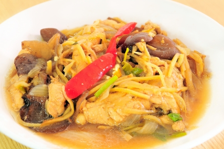 Chicken fried with ginger, Thai dish of chicken