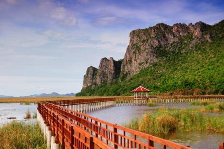 The long wood bridge at Pranburi, Thailand