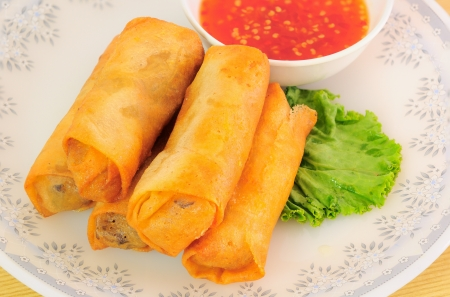 Fried Chinese Traditional Spring rolls food Stock Photo