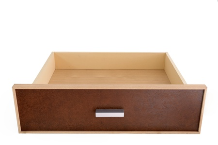 Empty wooden drawer an isolated image on white