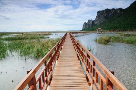 The long wooden bridge, Pranburi, Thailand Stock Photo