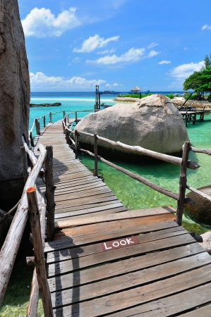 Tropical Island, the wooden bridge at a beautiful beach on sunny day, Koh NangYuan, Thailand  photo