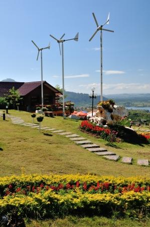wind turbine and a house