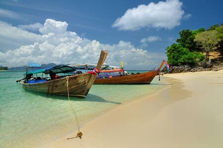 Boats on beautiful beach, Phi Phi island, Krabi, Thailand