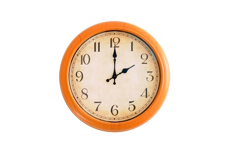Clock showing 2 O clock on a white wall  Imagens