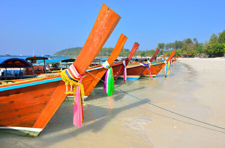Boats on beautiful beach, Lipe island, Satun, Thailand  Stock Photo