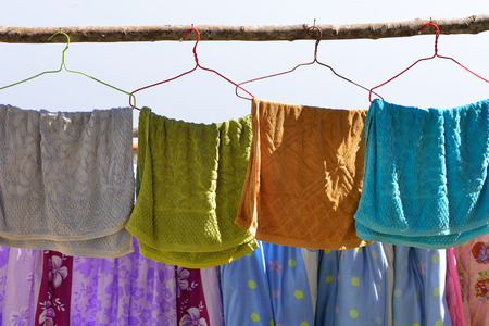 towels are hang under the sun