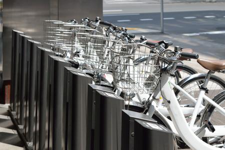 Rental bicycles parked at hokkaido Japan