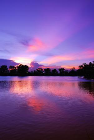 Beautiful sunset sky and light ray