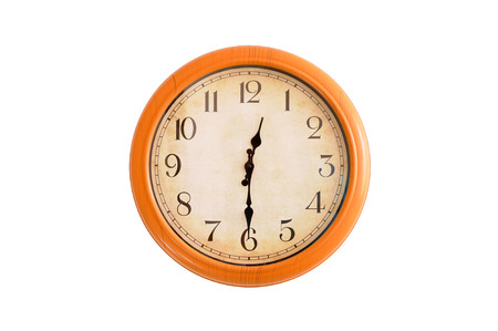 12 o clock: Isolated clock showing 12:30 oclock