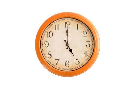 o'clock: Isolated clock showing 5:00 oclock