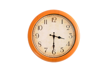 Isolated clock showing 3:30 oclock Imagens