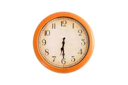 Isolated clock showing 6:30 oclock