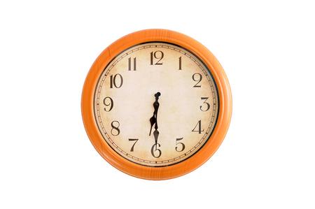 oclock: Isolated clock showing 6:30 oclock