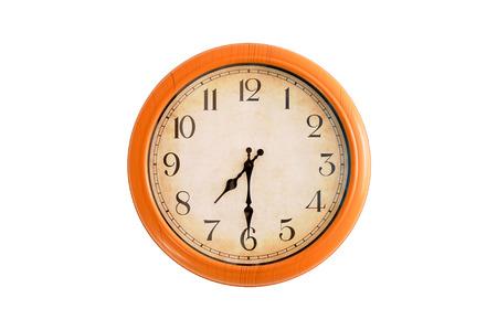 Isolated clock showing 7:30 oclock Stock Photo