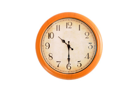 Isolated clock showing 10:30 oclock Imagens