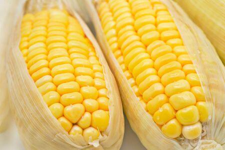 Close up yellow sweet corn