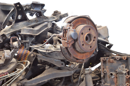 scarp: Close up of automotive garbage isolated on white background