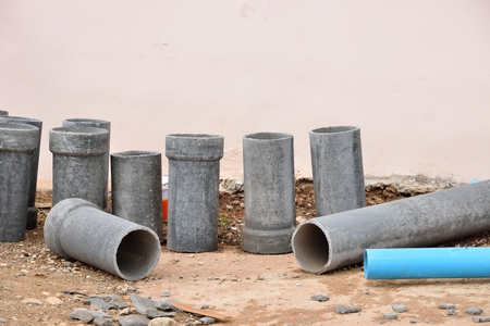 drain water: The concrete drain water pipes for construction put down on ground